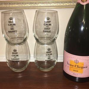FOUR STEMLESS KEEP CALM WINE GLASSES SET